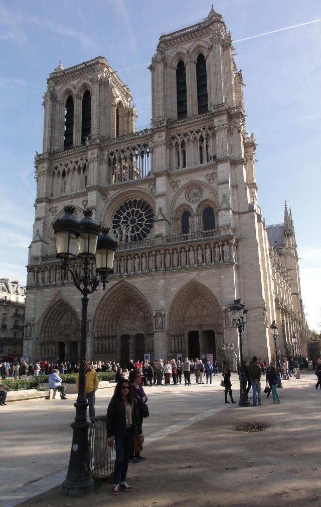Notre Dame i bakgrunden